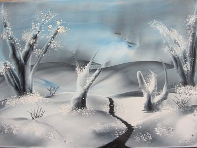 Winterlandschap gemaakt met encaustic ijzertje,spons en schraper