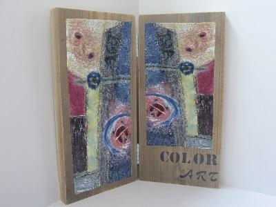Gemaakt met schilderwas uit blik op gebruikt steigerhout paneel 2 Luik