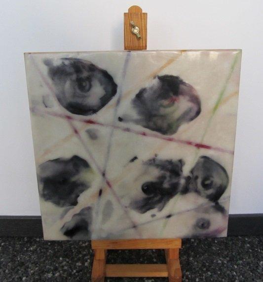 Gemaakt met schilderwas uit blik op mdf paneel