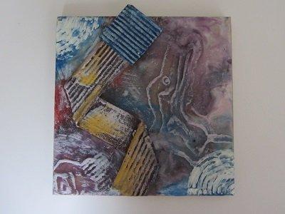 Schilderij gemaakt met gekleurde schilderwas in blik