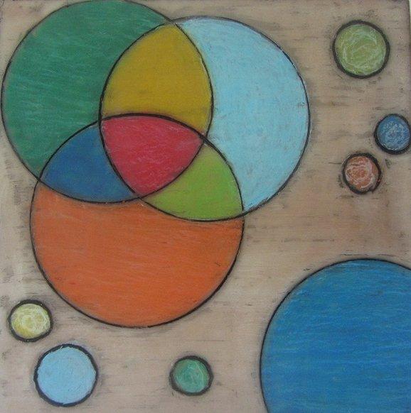 Schilderij gemaakt met Encaustic medium en oliepastelkrijt.