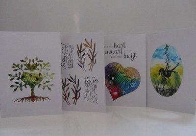 Passepartout kaartenset+envelop 4 stuks WIT 01