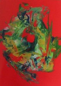 A4 encaustic gekleurd papier Rood 6 stuks